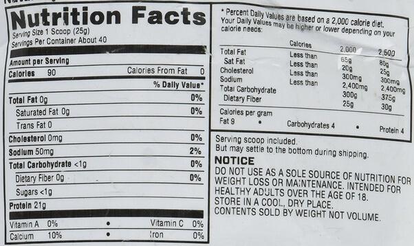 myprotein impact whey protein tozu besin değeri